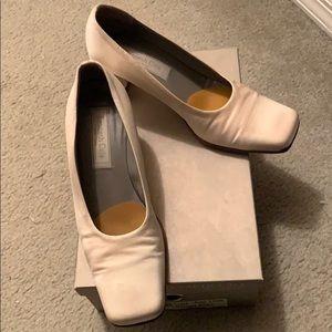 White suede pumps slight heel  7